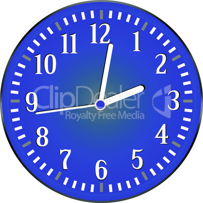 vector wall blue clock isolated on white