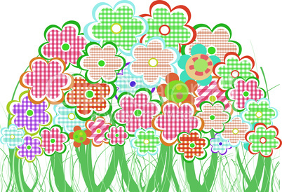 Perfect spring daisies border isolated on white background. vector