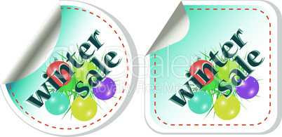 Winter Sale stickers vector set with christmas balls