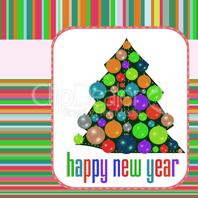 Christmas balls on tree Eve. New Year vector abstract background