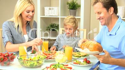Healthy Caucasian Family Eating Lunch Together