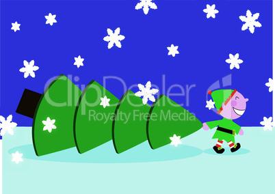 Santa Elf with huge christmas tree