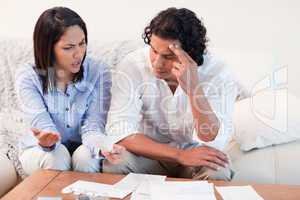 Couple talking about financial problems