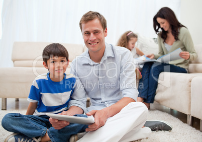 Family spending free time in the living room