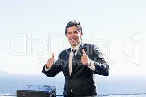 Businessman with the thumbs up