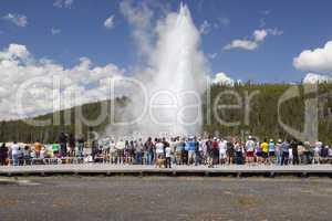 Tourists watch old faithful erupt