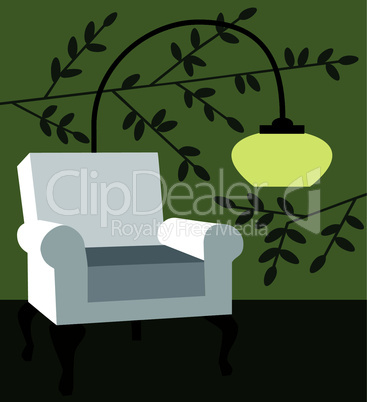White armchair on natur background modern interior vector illustration