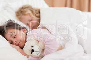 Quiet siblings sleeping