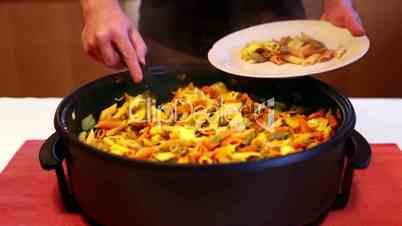 Preparing Multi Colored Pasta in Time Lapse