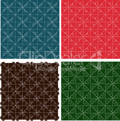 Color plaid abstract retro vector patterns set