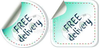 Free delivery vector stickers label set isolated on white