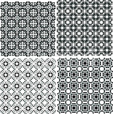 monochrome geometric seamless patterns set. Vector backgrounds