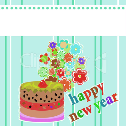 Vector artistic Christmas flower and cake vector background