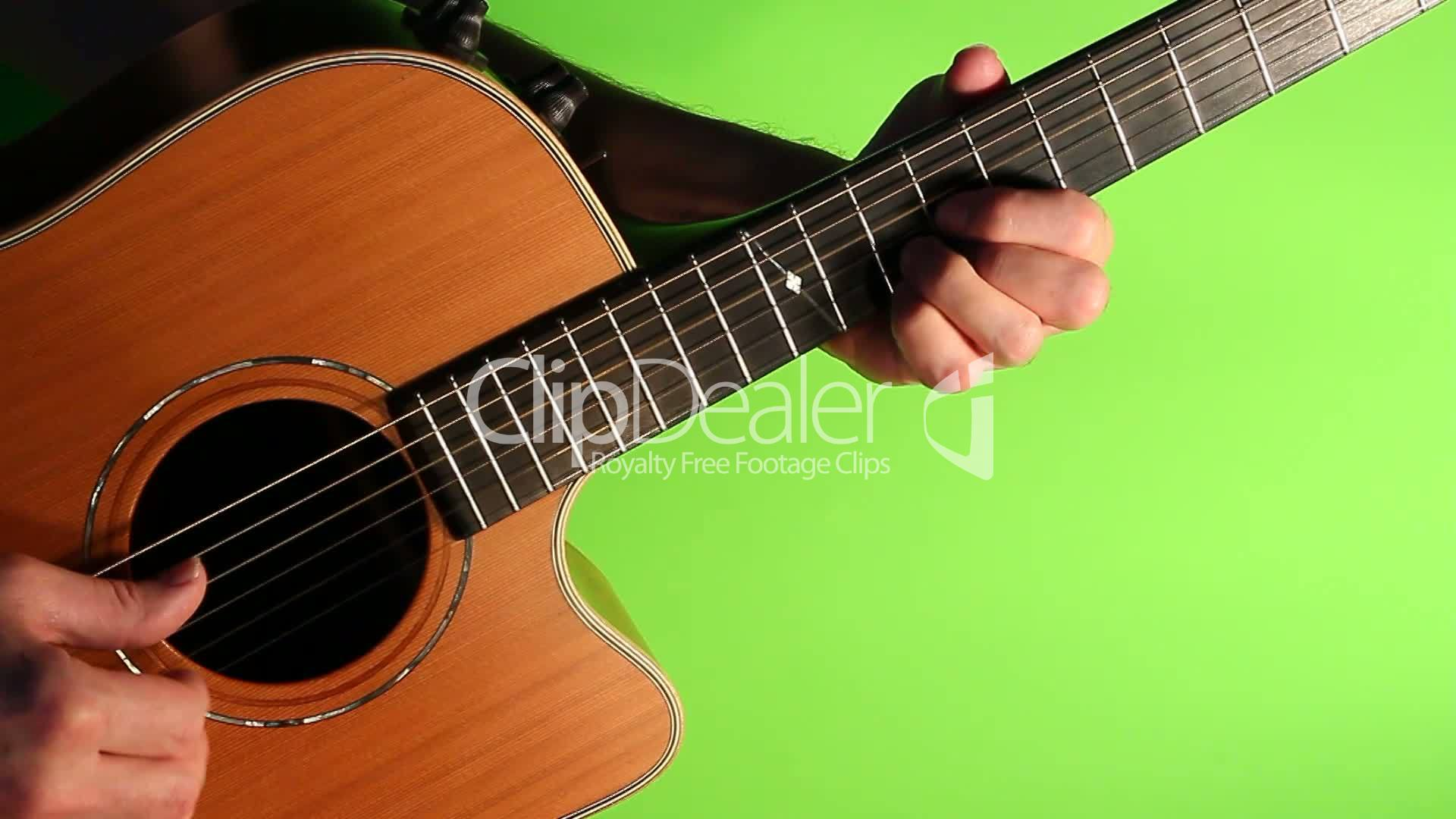 Acoustic guitar green screen: Royalty-free video and stock