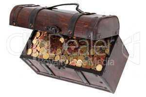 Open treasure chest with money