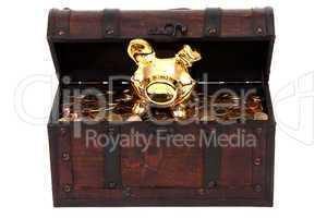piggy bank inside treasure chest