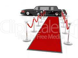 Illustration of a VIP red carpet leading with waiting limousine.