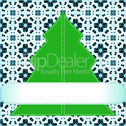Christmas tree applique vector background. invitation background