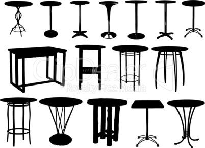 A set of bar tables