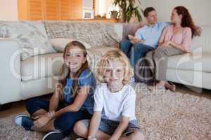 Family spending time in the living room