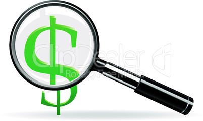 Magnifier and sign of dollar