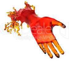 Lending a helping hand: red liquid shape