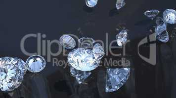 Precious gems: group of diamonds rolling over