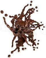Splashing chocolate: Liquid star shape with drops isolated