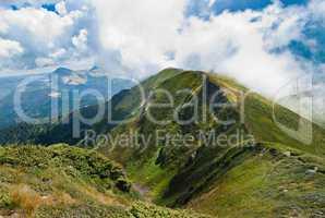 Carpathians landscape: on a mountain ridge