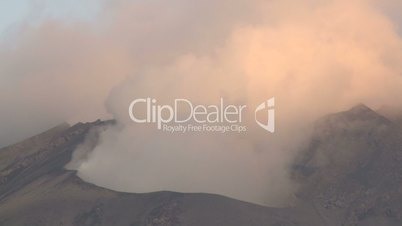 Steam And Gas Rise From Active Volcano