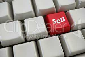 "keyboard with ""sell"" button 3d rendering"