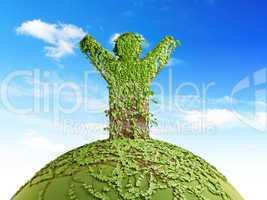 symbolic tree man on the planet
