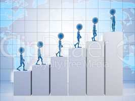 3D business men climbing a graph with one confident business man