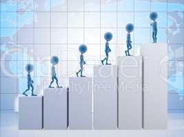 3D business men climbing a graph with one confident business man