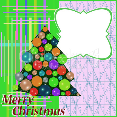 Christmas fir tree with colorful balls and decorations. vector background