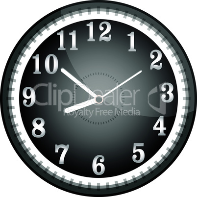 Silver vector wall clock with black face. vector