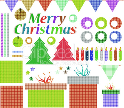 Big set of Christmas stuff. vector gift decoration elements