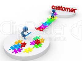 3D happymen attaining a customer