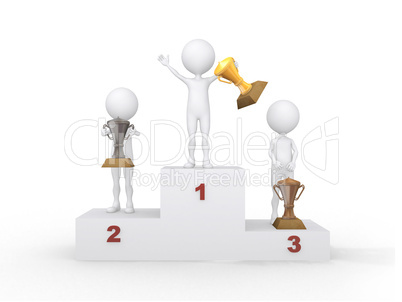 Winner celebrating on podium. 3d rendered illustration.