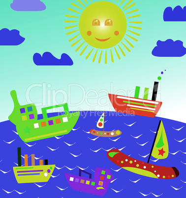 sun see on boats in the sea on beautiful landscapes