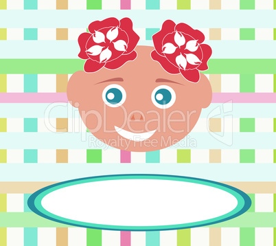 smiling cute baby girl child with abstract baсkground