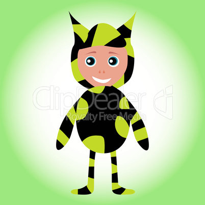 Cute sweet little baby boy wearing funny costume bee