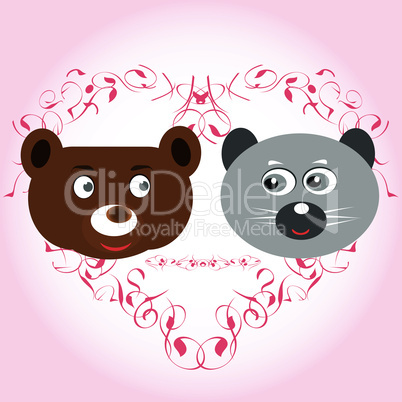 bear and lemur face with love heart