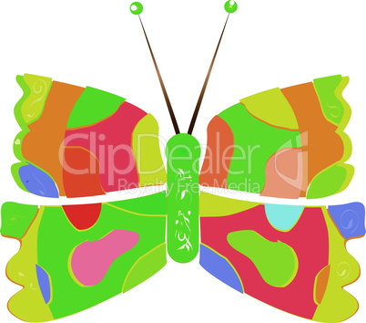 multicolored abstract close up butterfly isolated on white