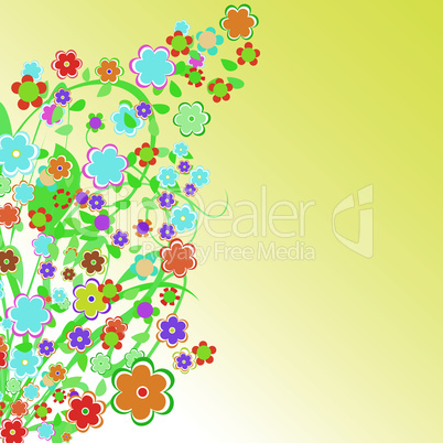 abstract floral Border background with chamomiles. Flower design