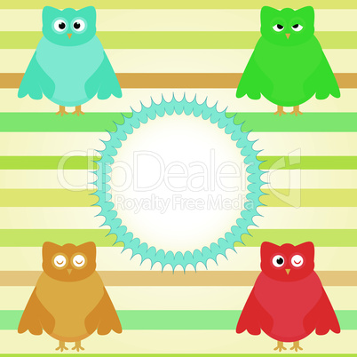 cute owl cartoon set background with vintage circle
