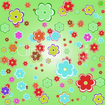 flower chamomiles pattern set on green background
