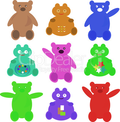 set of cute cartoon animals bear background