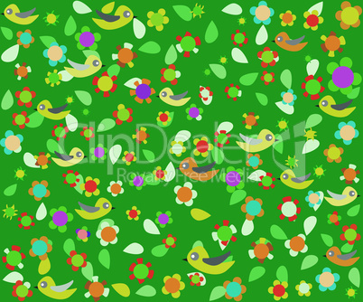 cartoon birds on green background with flower decor