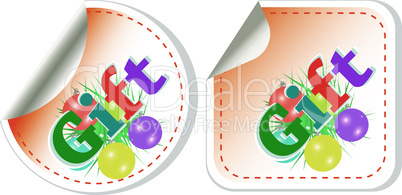 vector gift stickers set isolated on white